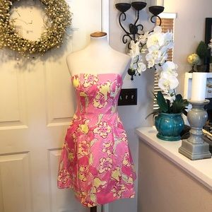 New Lilly Pulitzer Pink &Yellow PocketedMidi Dress